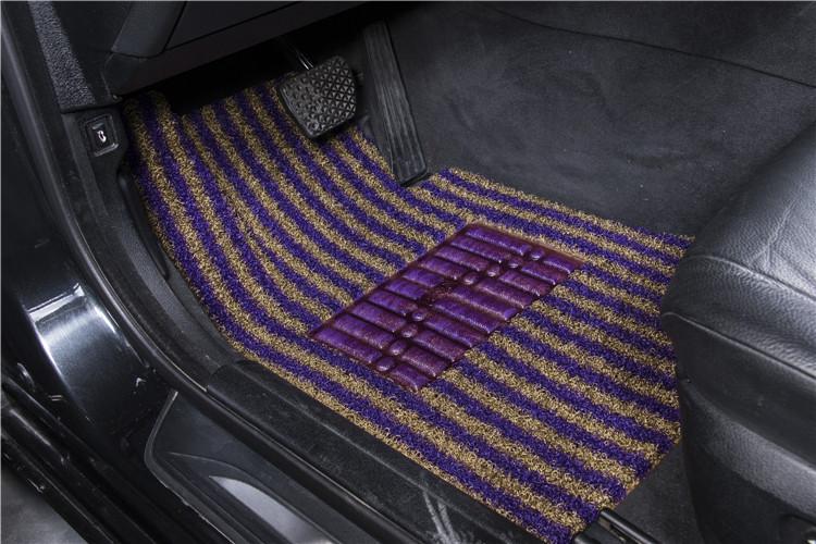 环保材质PVC彩虹丝圈汽车脚垫紫青